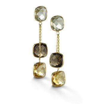 Multi-Stone Double Drop Earrings
