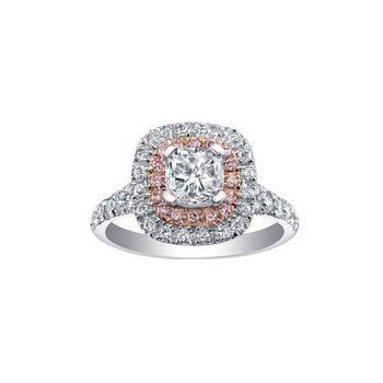 Two Tone Double Halo Cushion Engagement Ring