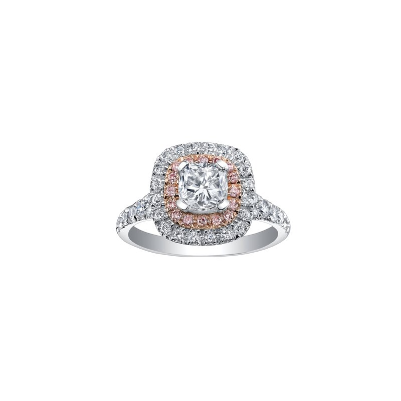 Maple Leaf Diamonds Two Tone Double Halo Cushion Engagement Ring