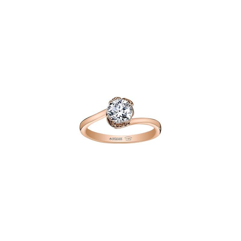 Maple Leaf Diamonds Autumn Red Maple Leaf Solitaire Ring