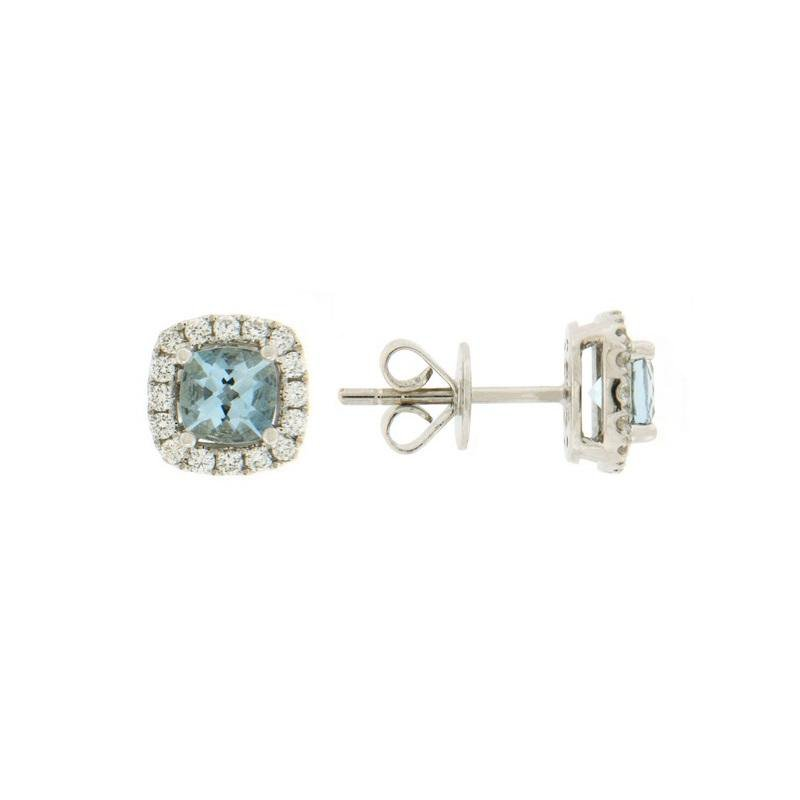 Davidson's Signature Aquamarine Cushion Halo Stud Earring