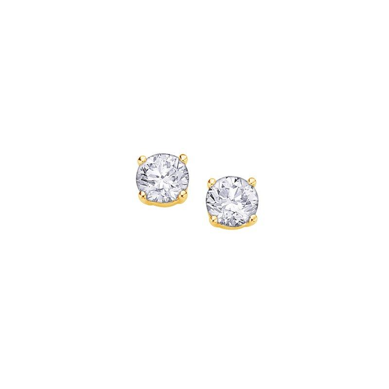Maple Leaf Diamonds Four Prong Canadian Diamond Stud Earrings