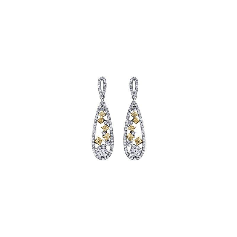 Maple Leaf Diamonds Natural Fancy Yellow Diamond Drop Earrings