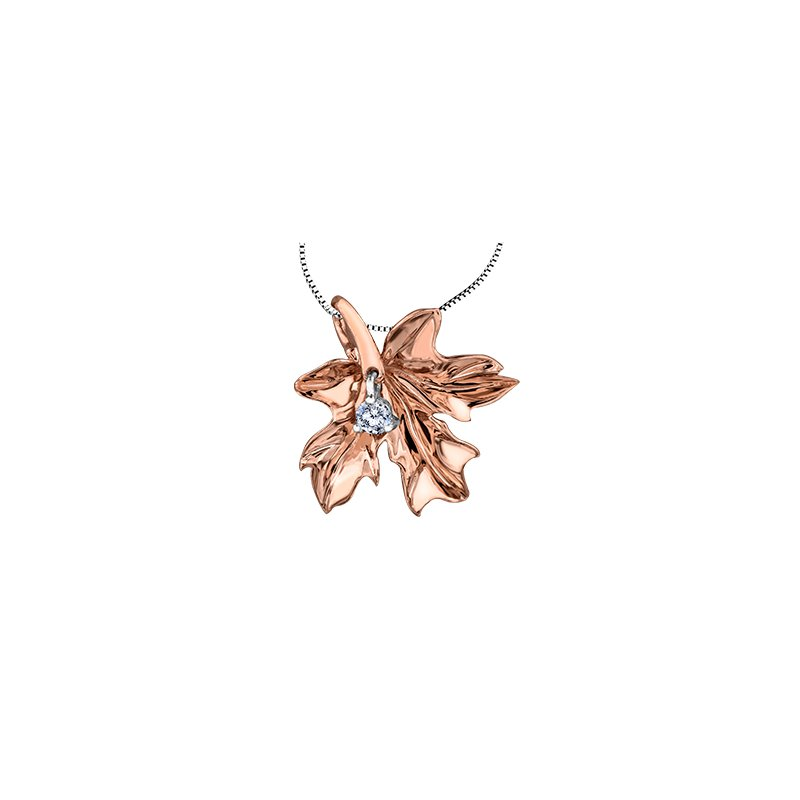 Maple Leaf Diamonds Autumn Red Maple Leaf One-Fifty Cut Pendant