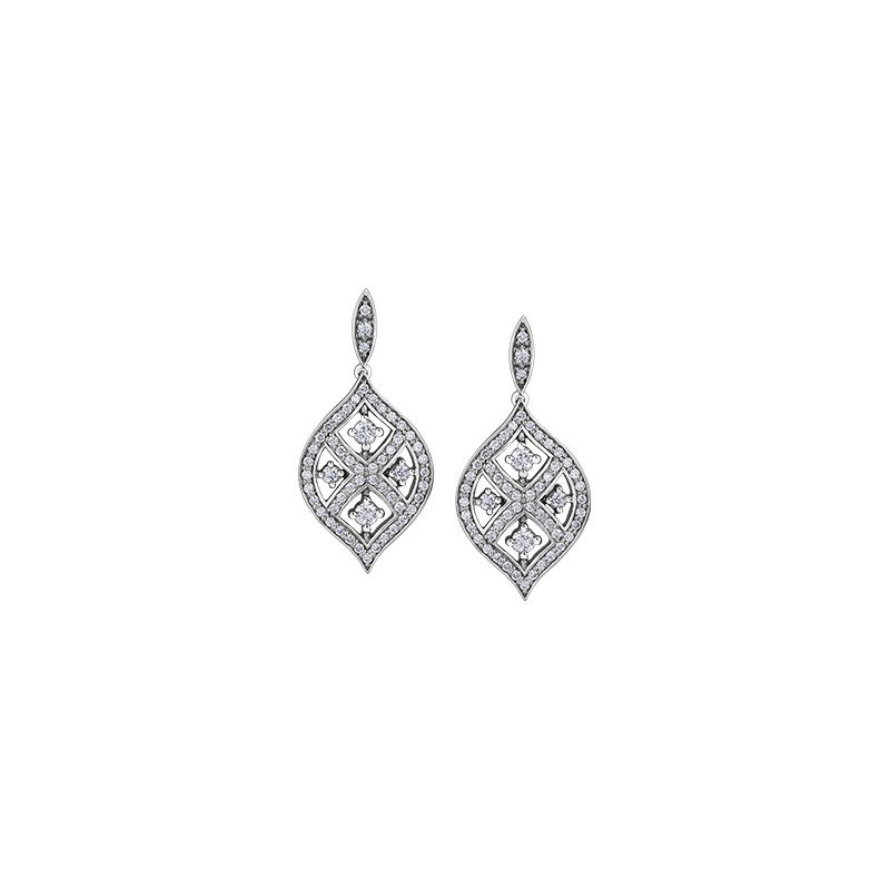 Maple Leaf Diamonds Vintage Inspired Diamond Earrings