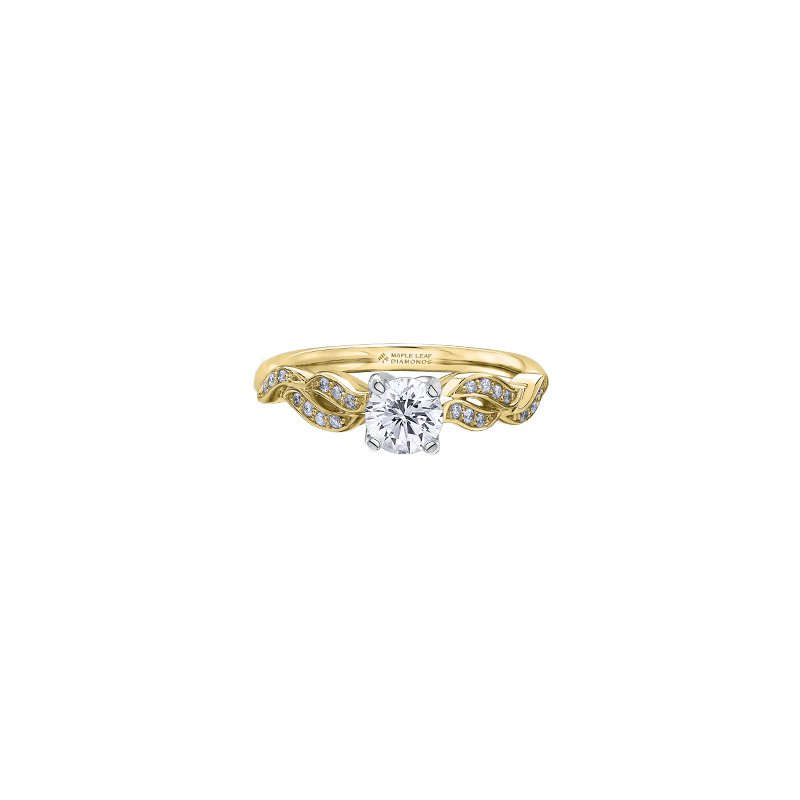 Maple Leaf Diamonds Braided Band Engagement Ring in Yellow Gold