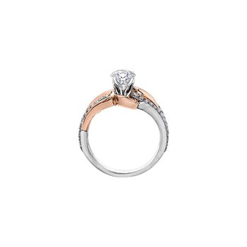Eternal Flames Diamond Set Looped Band Engagement Ring in Rose and White Gold