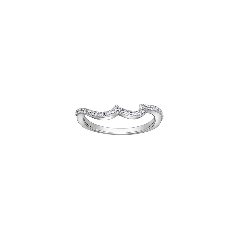 Maple Leaf Diamonds Eternal Flames Diamond Set Looped Band Engagement Ring in Rose and White Gold