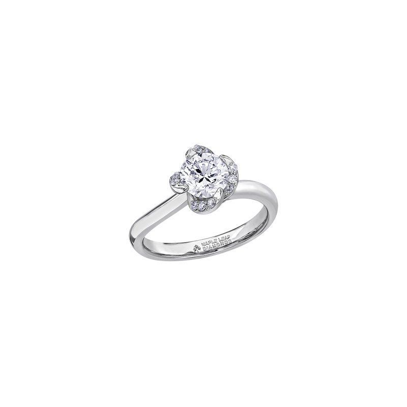 Maple Leaf Diamonds Wind's Embrace Solitaire Engagement Ring in White Gold