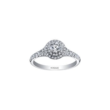 Tides of Love Double Halo Engagement Ring in White Gold