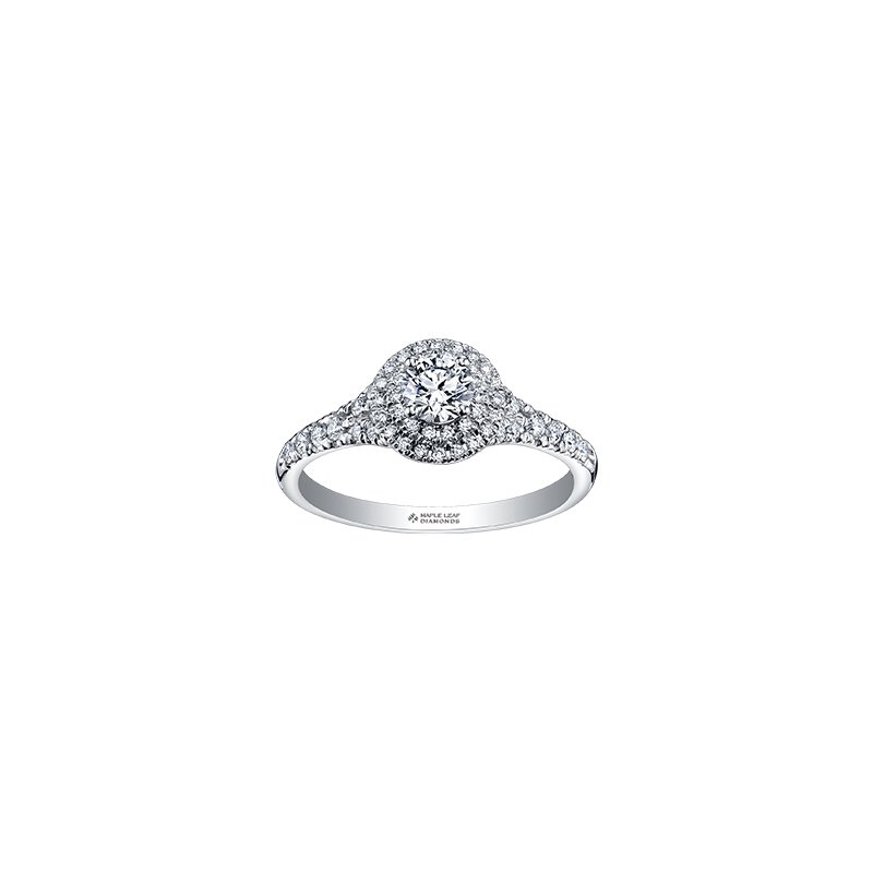 Maple Leaf Diamonds Tides of Love Double Halo Engagement Ring in White Gold