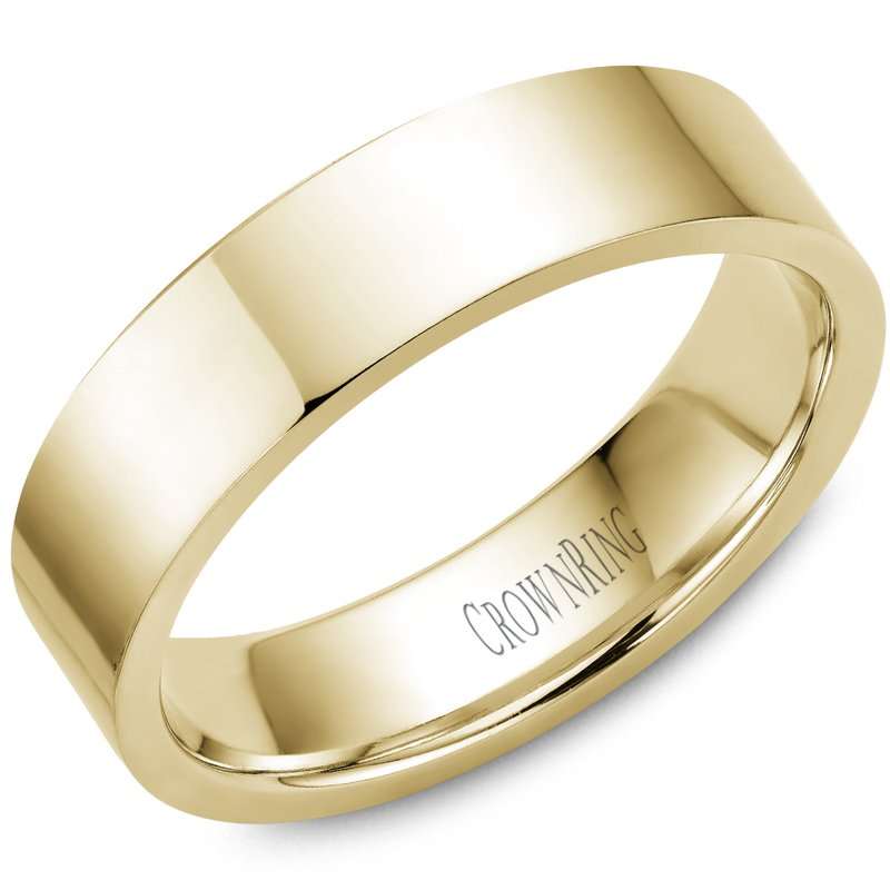 CrownRing Flat Wedding Band in Yellow Gold