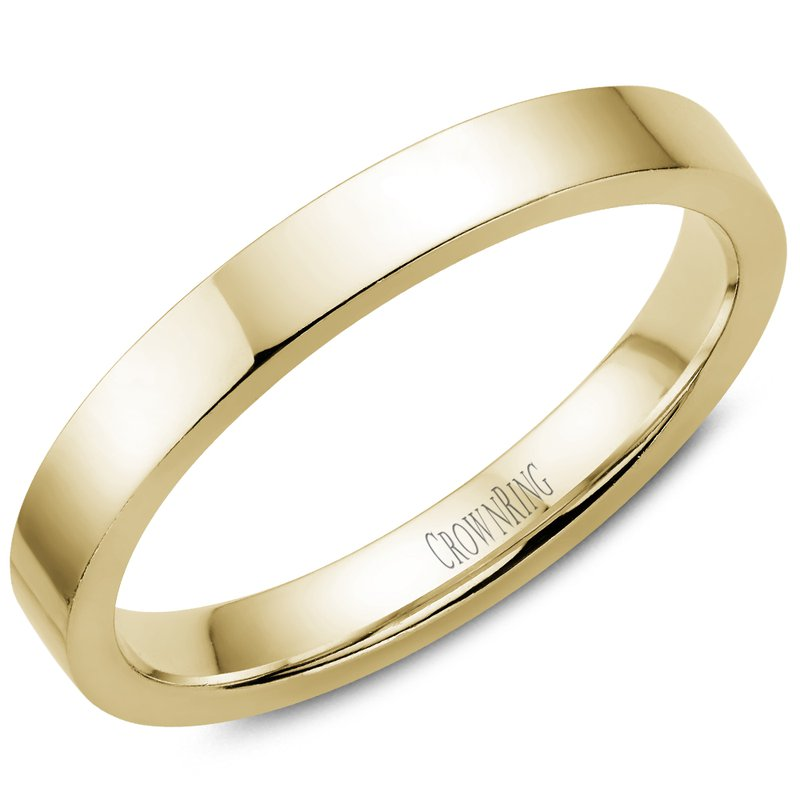 CrownRing Flat Wedding Band in Yellow Gold