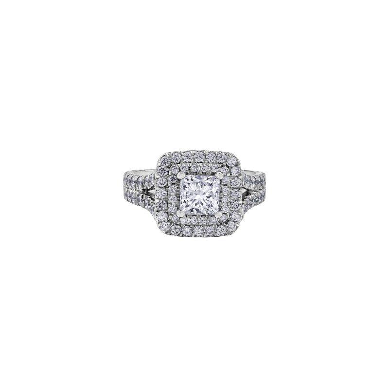 Maple Leaf Diamonds Adoration Princess Halo Engagement Ring