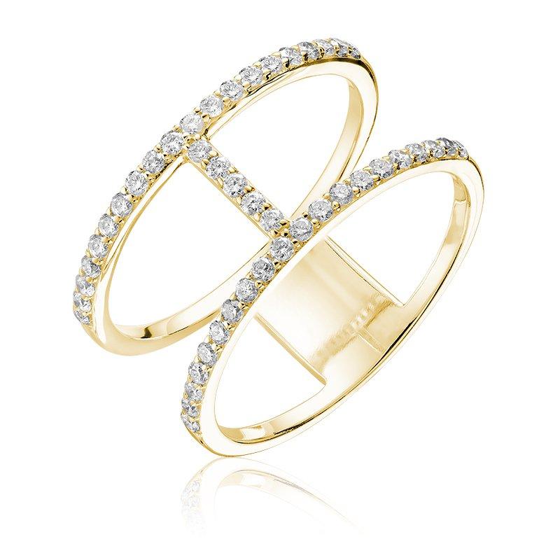 RnB Jewellery Diamond Double Ring with Horizontal Bar