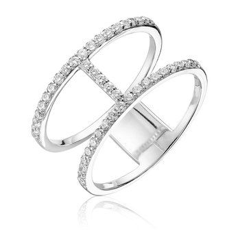 Diamond Double Ring with Horizontal Bar