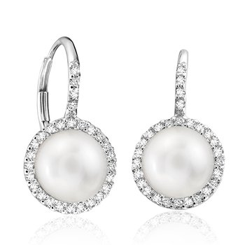 Diamond and Pearl Halo Drop Earrings
