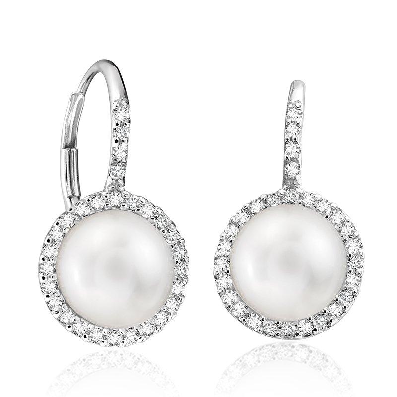 RnB Jewellery Diamond and Pearl Halo Drop Earrings