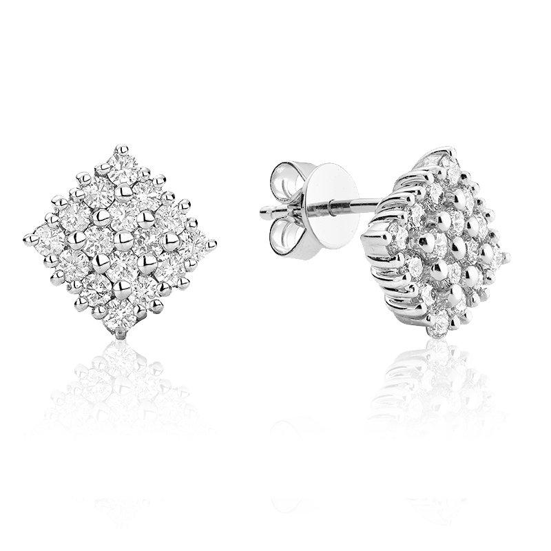 RnB Jewellery Diamond Cluster Square Stud Earrings