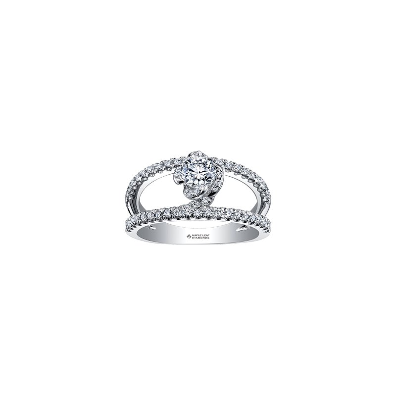 Maple Leaf Diamonds Wind's Embrace Diamond Set Double Band Engagement Ring
