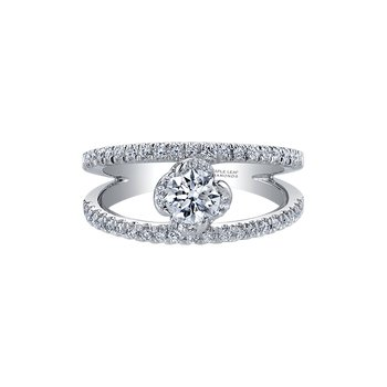 Wind's Embrace Diamond Set Double Band Engagement Ring