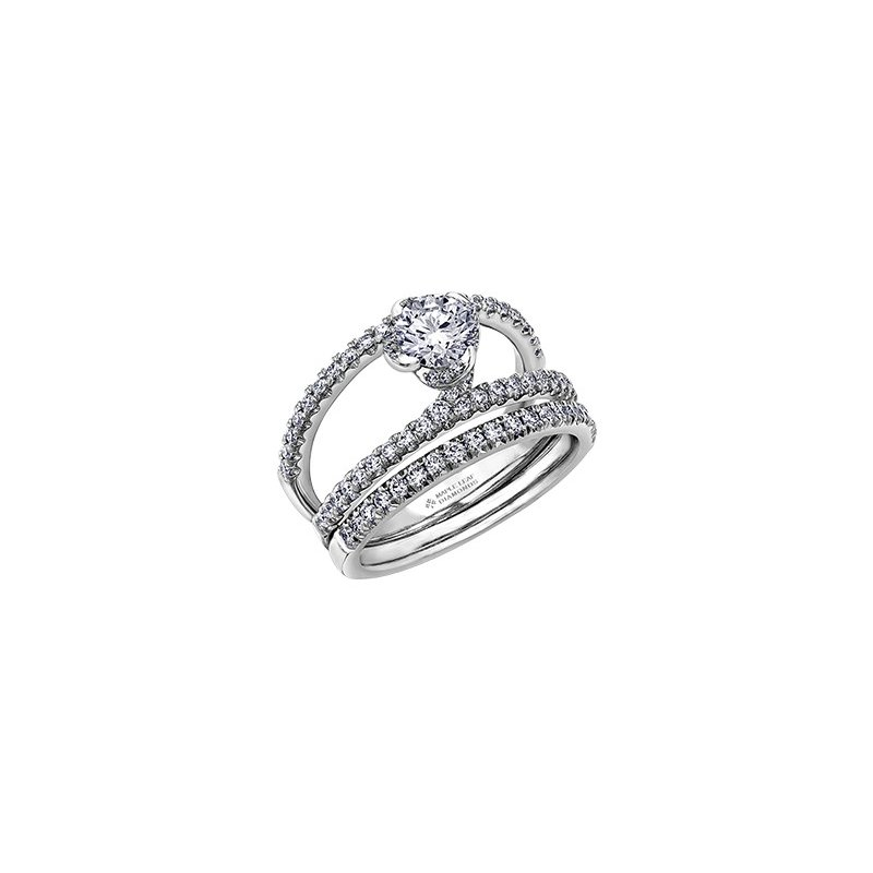 Maple Leaf Diamonds Wind's Embrace Diamond Set Double Band Engagement Ring