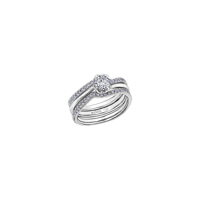 Maple Leaf Diamonds Autumn White Maple Leaf Solitaire Ring