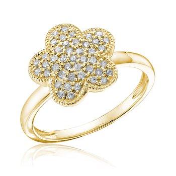 Pave Diamond Flower Ring