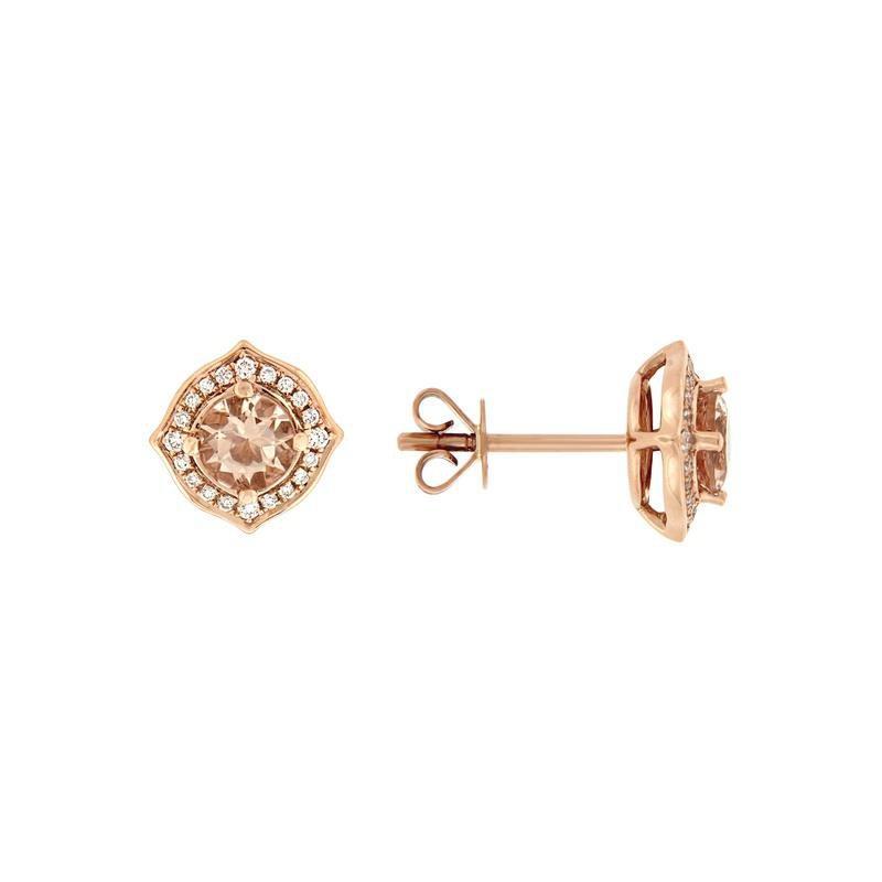 Davidson's Signature Morganite Fancy Halo Stud Earrings