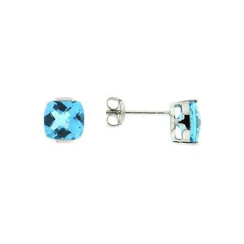 Cushion Blue Topaz Stud Earrings