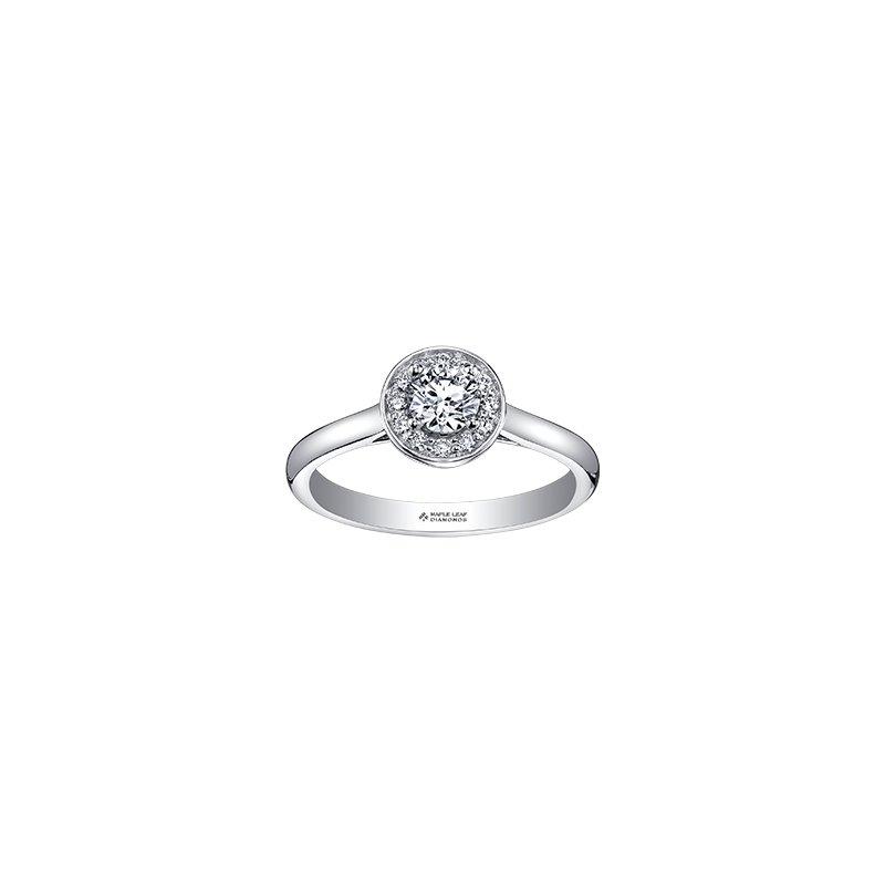 Maple Leaf Diamonds Adoration Simple Halo Ring