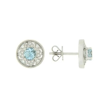 Vintage Inspired Aquamarine Stud Earrings