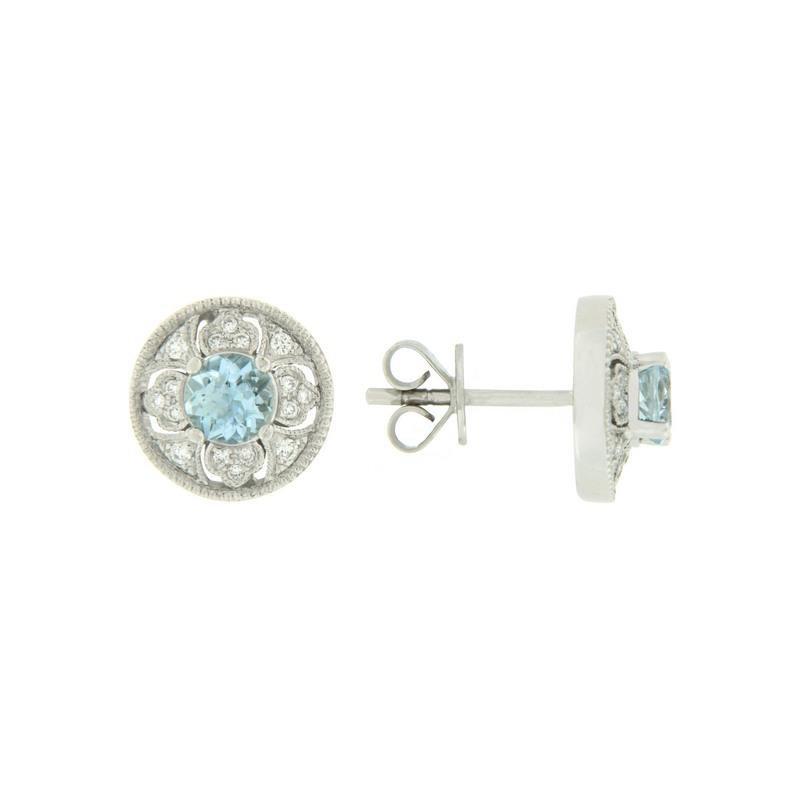 Davidson's Signature Vintage Inspired Aquamarine Stud Earrings
