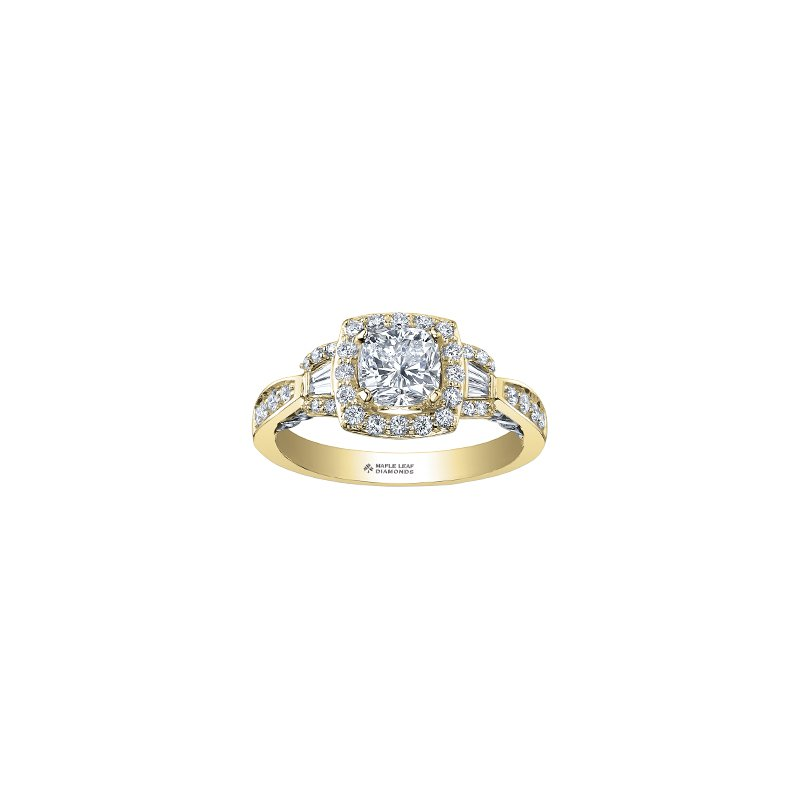 Maple Leaf Diamonds Tides of Love Cushion Halo Engagement Ring in Yellow Gold