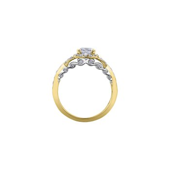 Tides of Love Cushion Halo Engagement Ring in Yellow Gold