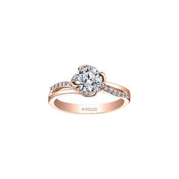 Wind's Embrace Diamond Wrap Round Engagement Ring in Rose Gold