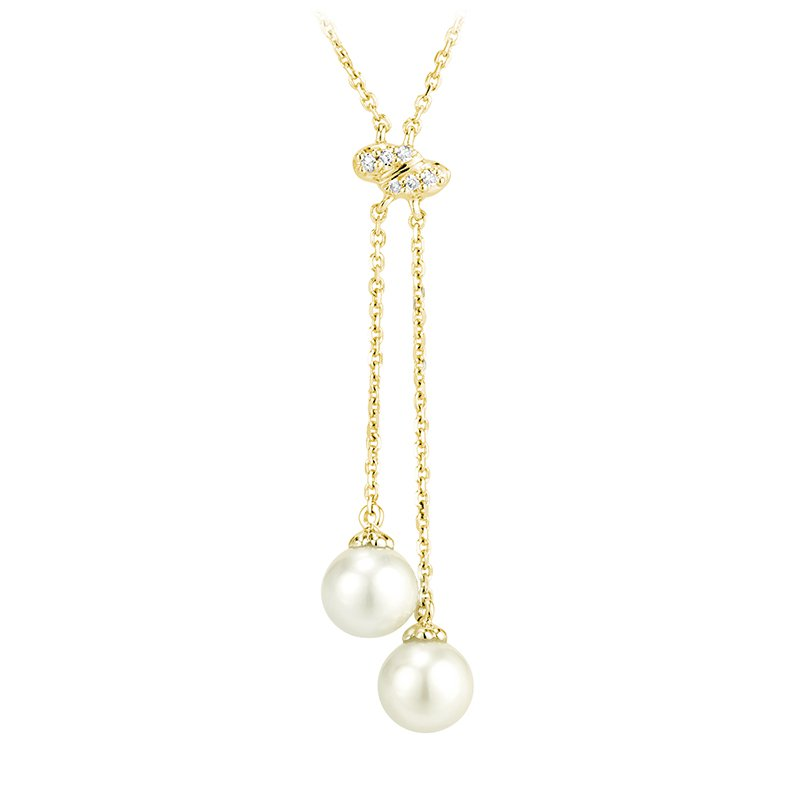 RnB Jewellery Pearl and Diamond Double Drop Necklace
