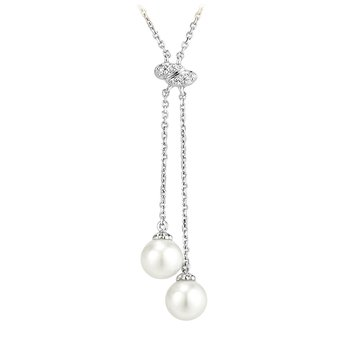 Pearl and Diamond Double Drop Necklace