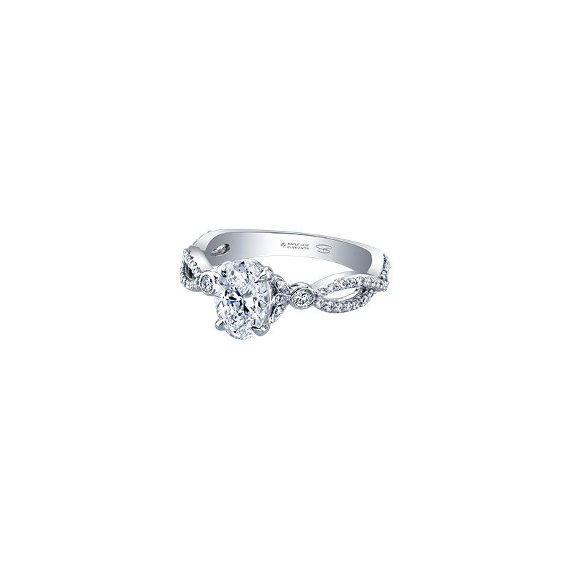 Maple Leaf Diamonds Spring Lily Infinity Oval Engagement Ring