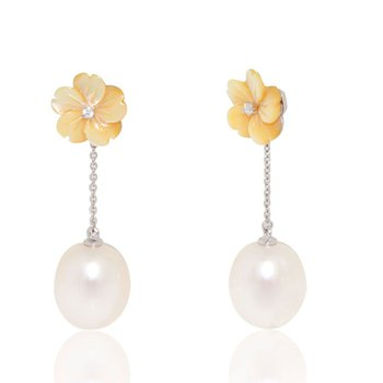Mother of Pearl and Pearl Drop Earrings