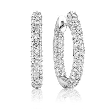 Rounded Pave Diamond Hoop Earrings