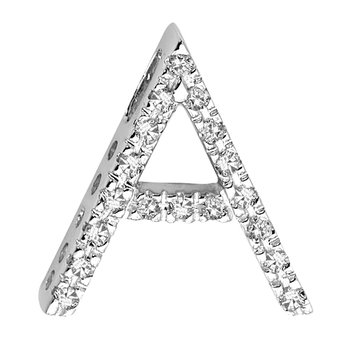 Block Letter Initials in White Gold