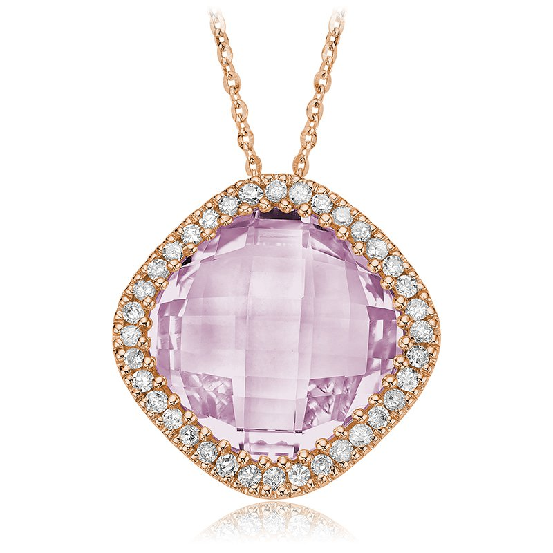RnB Jewellery Pink Amethyst and Diamond Pendant