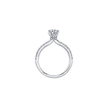 Circle of Love Tapered Diamond Set Engagement Ring in White Gold