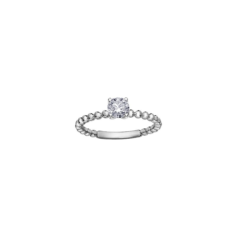 Maple Leaf Diamonds Eternal Flames Beaded Solitaire Ring in White Gold