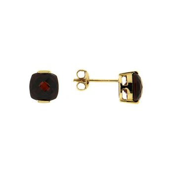 Cushion Garnet Stud Earrings