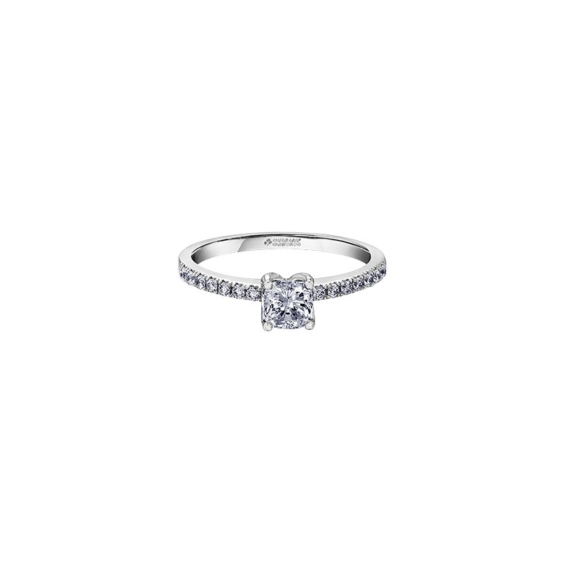 Maple Leaf Diamonds Eternal Flames Narrow Diamond Band Cushion Engagement Ring in White Gold
