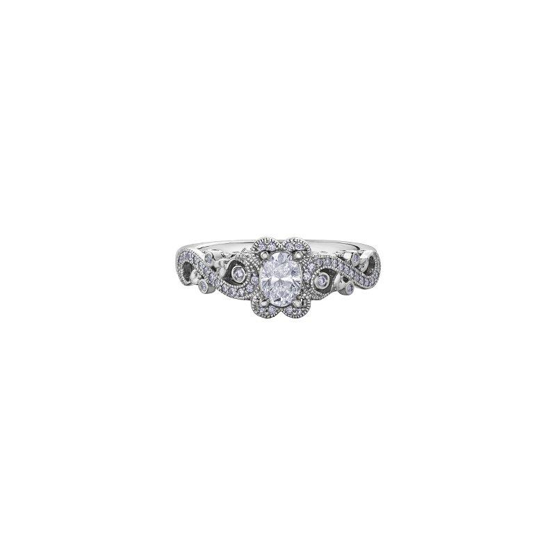 Maple Leaf Diamonds Summer Oval Ribbon Engagement Ring