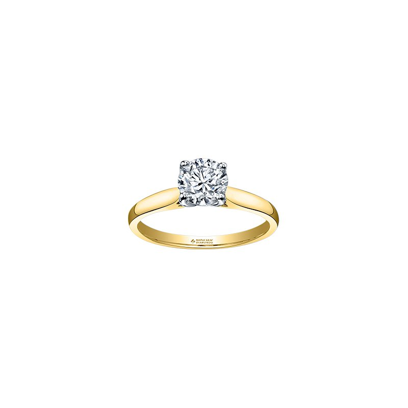 Maple Leaf Diamonds Eternal Flames 4 Prong Solitaire Ring in Yellow Gold