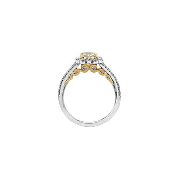 Tides of Love Cushion Halo Engagement Ring with a Yellow Diamond